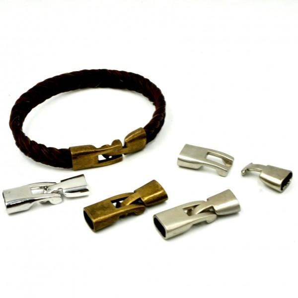 Klebelverschluss für Bänder 10 x 3-4mm- Messing , Antik look