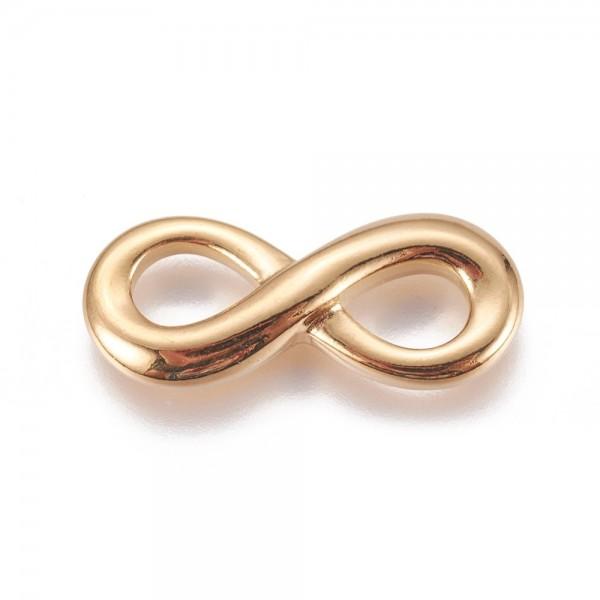 Infinity Schleife, Edelstahl-Golden, 26x11 mm, (K/3-D5)