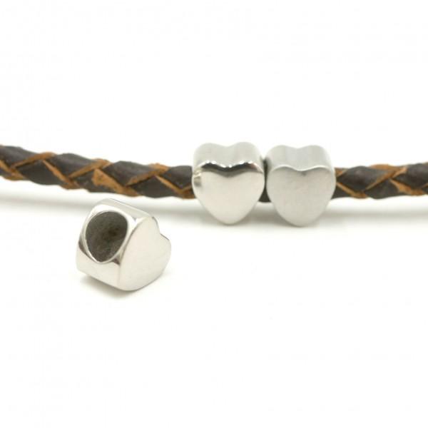 8 mm Herz Perle, 4,7 mm innen Edelstahl, ,Überschieber, (K/1-C8)