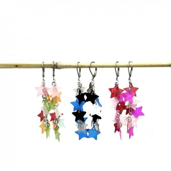 fliegende Sternchen Ohrhänger aus Muschel Schale Capriz Muschel mit Edelstahl Klapp Brisuren