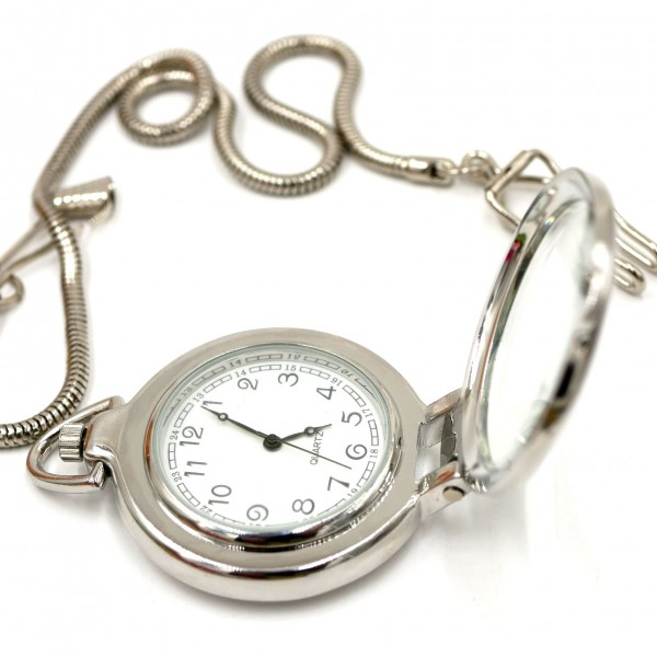 Taschenuhr mit Lupenfunktion und Kette - 13106