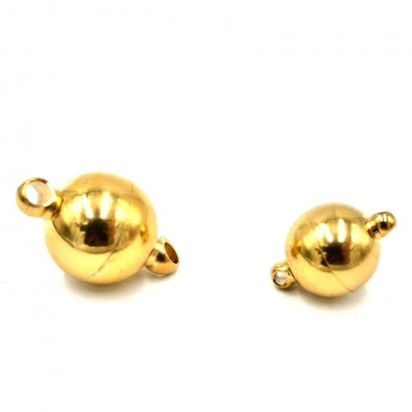 Kugel Magnetverschluss, Edelstahl -Golden mit 2 Ösen (K/9-A8)