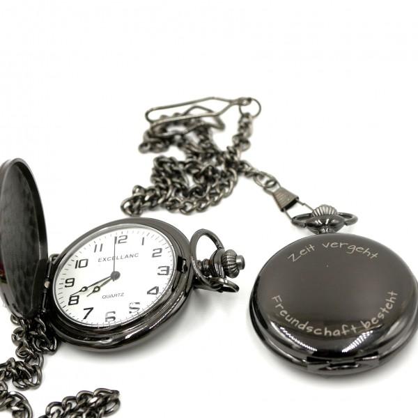 Taschenuhr, schwarz mit Kette und Gravuroption (S18-A1)