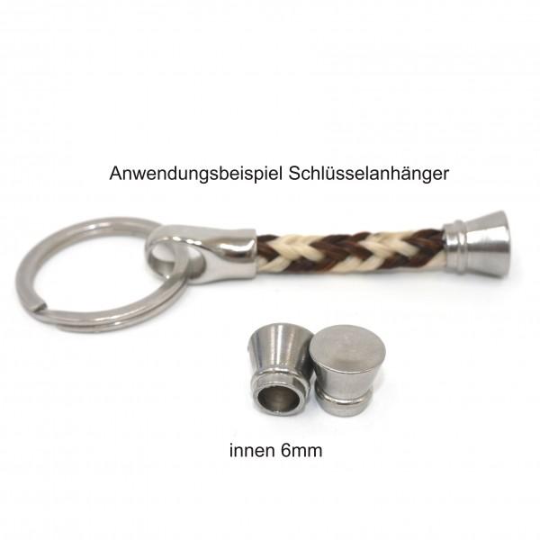 solide Endkappe, Kegel Edelstahl, innen: 6mm, geschlossener Boden (K/21-A8)