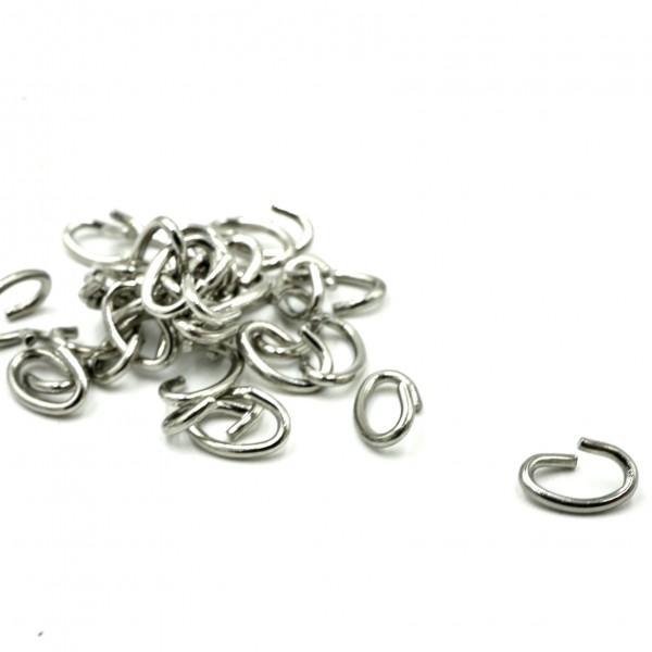 20 ovale Ösen, offen Edelstahl Ringe, Binderinge 4x6mm (K/5-D6)