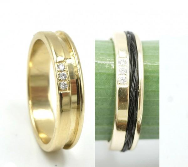 Pferdehaarring, Pferdehaarschmuck,in Gold, Silber mit Brillant Ring für Schweifhaar