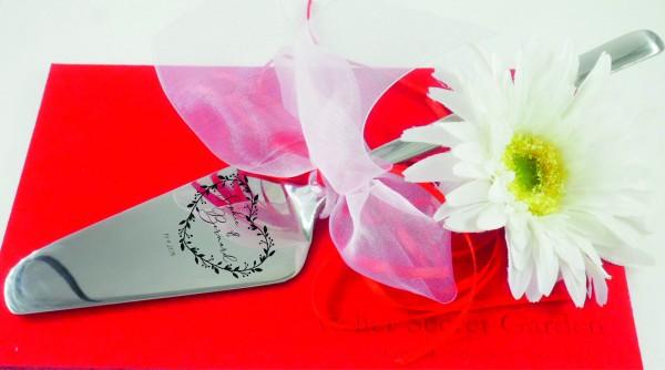 Tortenheber, für Hochzeitstorte mit Blumenherz, personalisiert