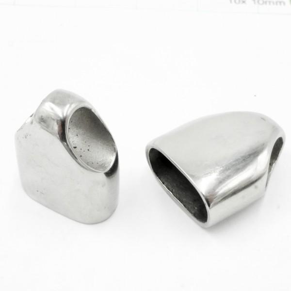 2 Stück ovale Endkappe, Edelstahl ,12 x 6 mm innen (K/5-B6)