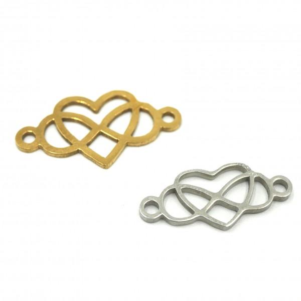 Infinity Schleife, mit Herz, Edelstahl natur & golden PF-IN-7024