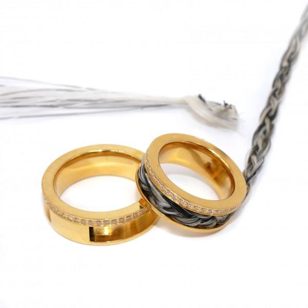 Zirkonia Ring mit Nut, Edelstahl für Pferdehaar Pf-R-6013 von diy-pferdehaarschmuck