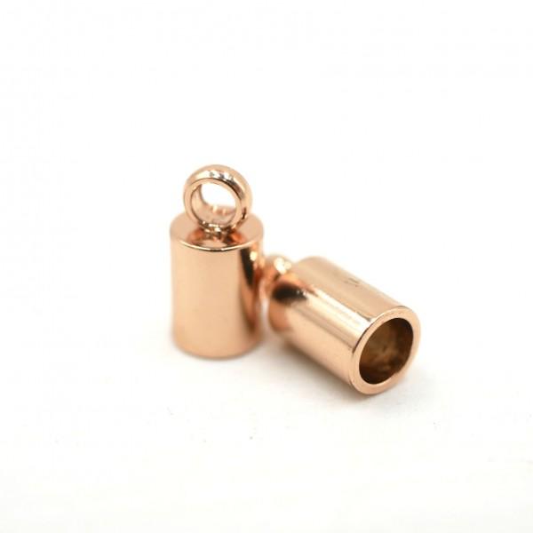 2 Stück Endkappe, rosé golden, Edelstahl, innen: 2,8 mm (S1/C)