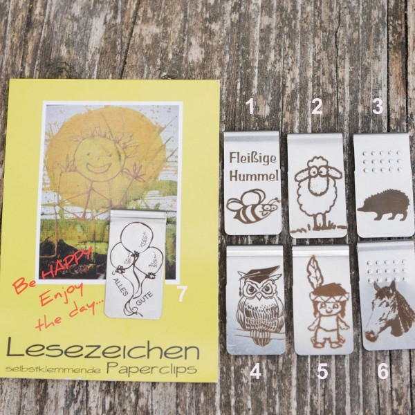 Lesezeichen, selbstklemmend ,Edelstah, Buchzeichen, von gutelauneschmuck.de