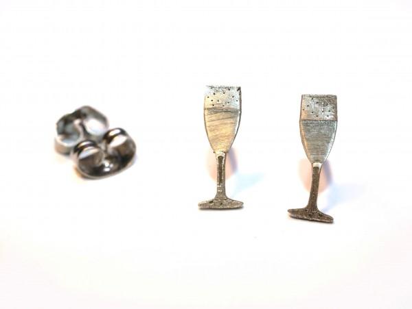 Sekt Ohrstecker 925 Silber, Feiern zusammen