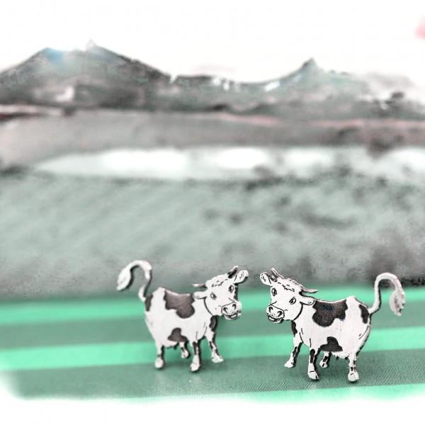 Kuh, Kühe, Bauernhoftiere, Ohrstecker Silber 925 von gutelauneschmuck.de