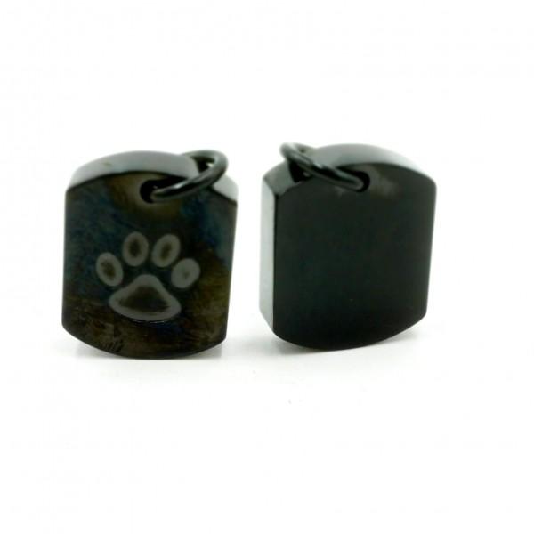 Ascheanhänger schwarz, rechteckig mit Pfote, mit Gravur, Mini Urne & Andenken Schmuck (S1/E)