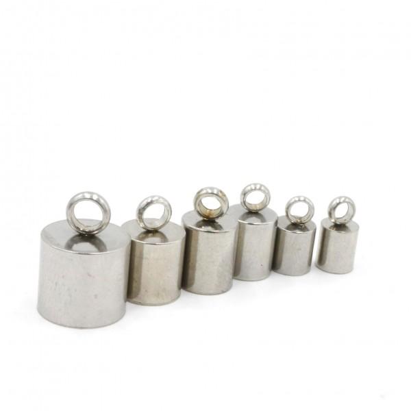 6 Endkappen, Edelstahl ,6 versch Größen 8-4mm (K6/A1-2-3-4-5-6-)