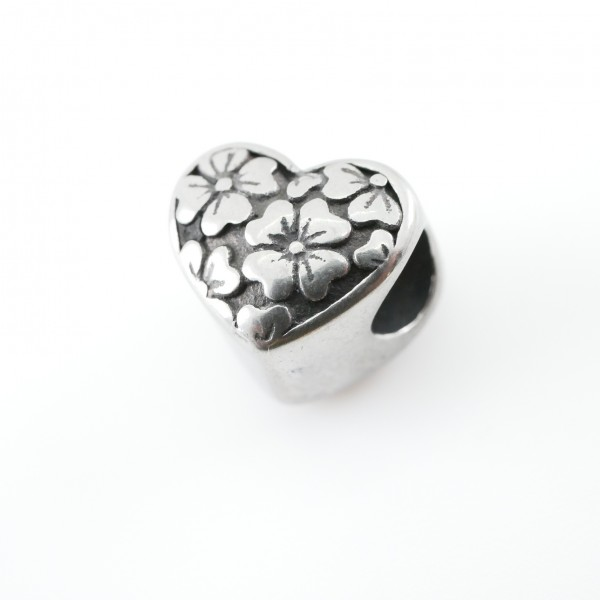 Herz , Großlochperle Tracht Blume Ornament 5017