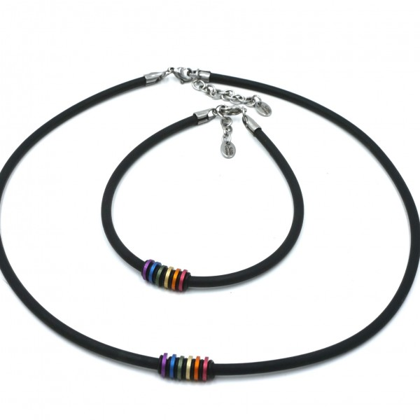 Farbe des Regenbogens 6 Scheiben-Kette, Armband, Kautschuk, Edelstahl und Eloxal, Unisex