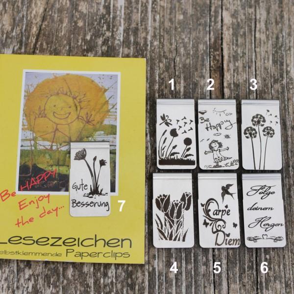 Lesezeichen, Buchclip, Thema Blume,Gute Besserung, Be Happy, Geburtstag