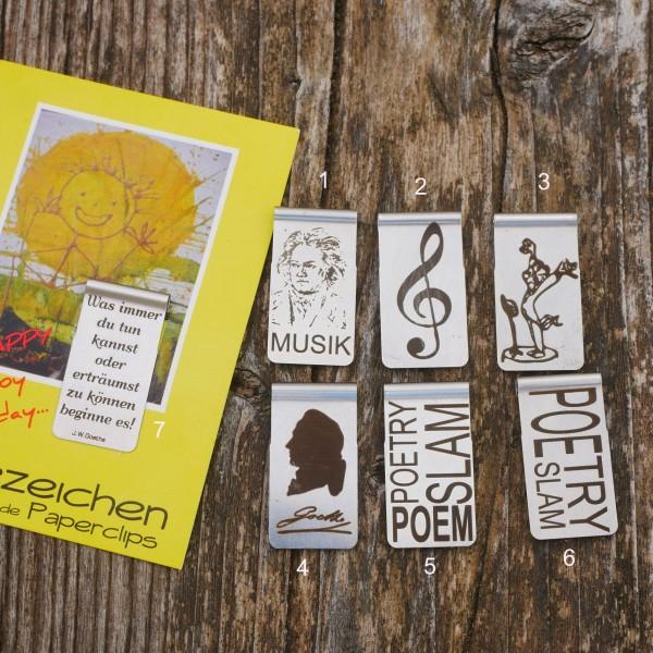Lesezeichen, selbstklemmend ,Edelstahl,, Musik u. Kultur von gutelauneschmuck.de