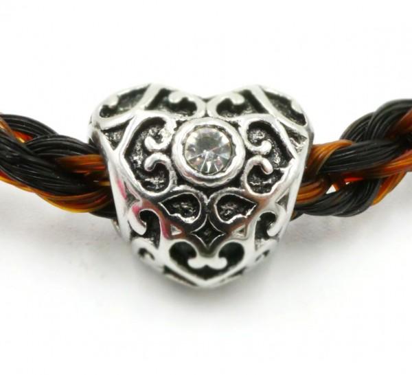 Herz , Großlochperle Tracht mit strass Ornament 5062