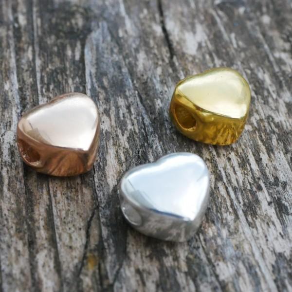 Herz, 925 Großloch 3mm, Silber, Gold, Rosegold (K/1-D7)
