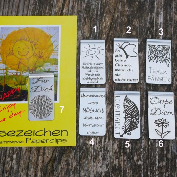Lesezeichen, Blume des Lebens ,Edelstahl, Motivation, von gutelauneschmuck.de