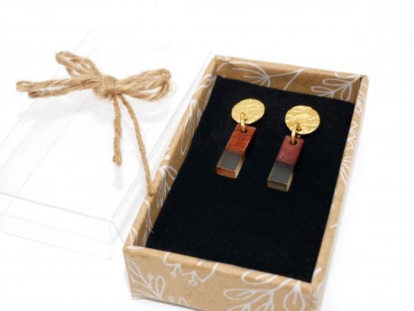 Gold trifft Holz mit Transparenz, Ohrstecker,Ohrhänger Edelstahl , OH-35008 Gute Laune Schmuck