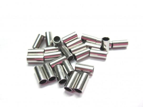 20 Stück Hülse, innen: 2,2mm, Edelstahl, Länge: 6 oder 10mm (K/2-A4+A5)