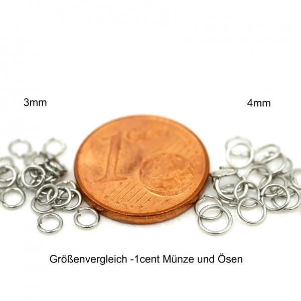 20 feine, dünne Ösen, offen, 3 und 4mm Edelstahl Ringe (S1/C)