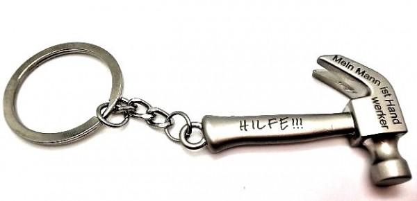 Schlüsselanhänger, Hammer, Hilfe meine Mann ist Handwerker, von Gutelauneschmuck.de
