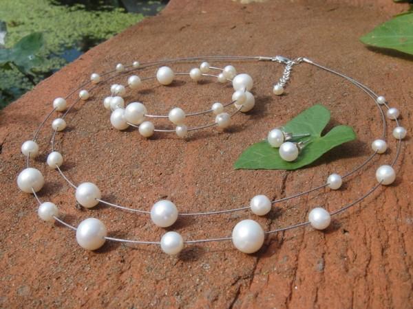 Perlencollier Set, 2 reihig-Set mit Ohrstecker und Armband