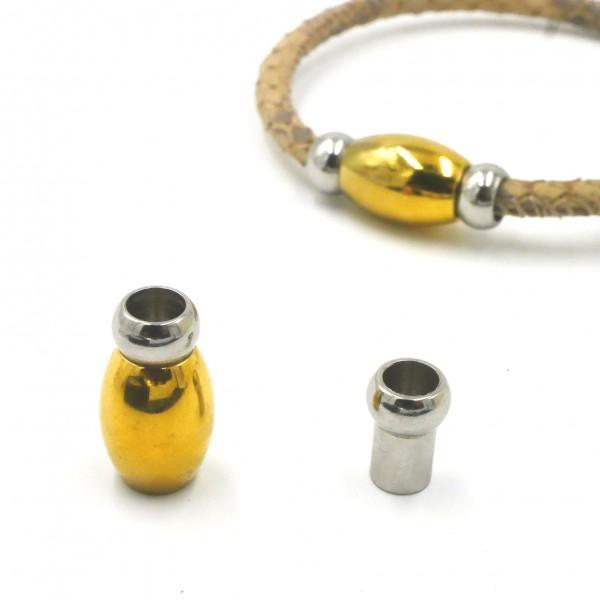 Magnetverschluss, bicolor ballig innen: 5mm, gold/natur, Edelstahl (K/9-A3)