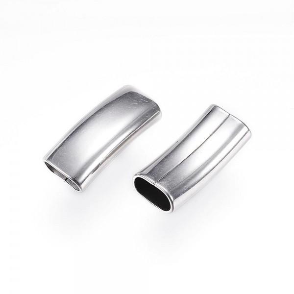ballig, Überschieber 11x 6mm gebogen, Edelstahl, für Pferdehaar und Lederarmbänder (k/2-B6)