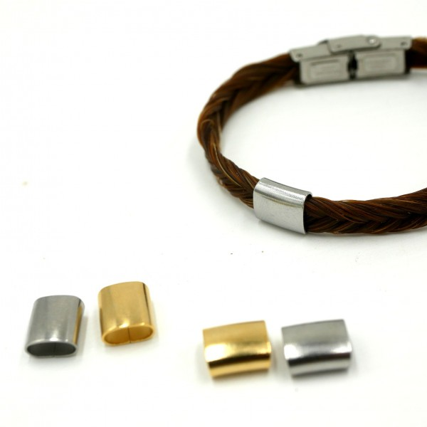 ovale Hülse edelstahl natur golden PF-H-4037